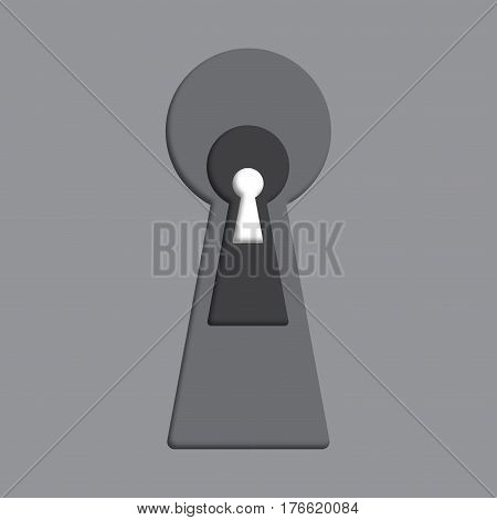 Keyhole vector icon. Cutout keyhole paper collage express the concept of riddle, secret, peeping, safety, security.