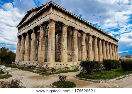 The temple of Hephaestus in Athens city Greece
