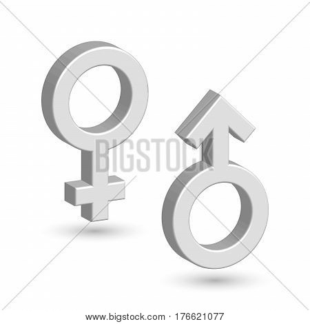3D male and female symbols with shadow on the wall. Toilet marks. EPS10 vector illustration.