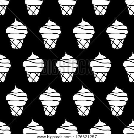Cartoon ice cream pattern with hand drawn ice cream. Cute vector black and white ice cream pattern. Seamless monochrome doodle ice cream pattern for fabric, wallpapers, wrapping paper and cards.