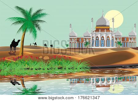 The scenery, the Arab Palace in the desert. Oasis. A caravan of camels. Lake and palm trees in the desert. Vector illustration