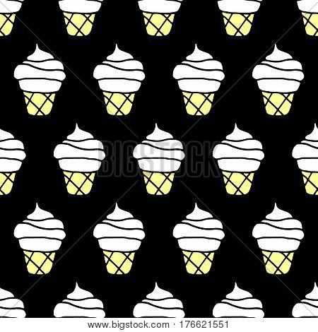 Cartoon ice cream pattern with hand drawn ice cream. Cute vector cheerful ice cream pattern. Seamless sweet doodle ice cream pattern for fabric, wallpapers, wrapping paper, cards and web backgrounds.