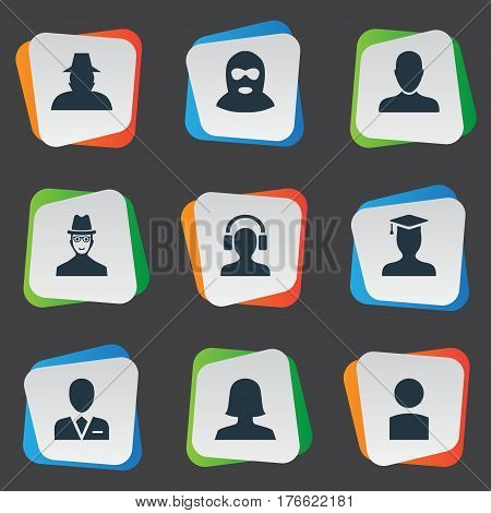 Vector Illustration Set Of Simple Member Icons. Elements Job Man, Agent, Woman User And Other Synonyms Business, Avatar And Hat.