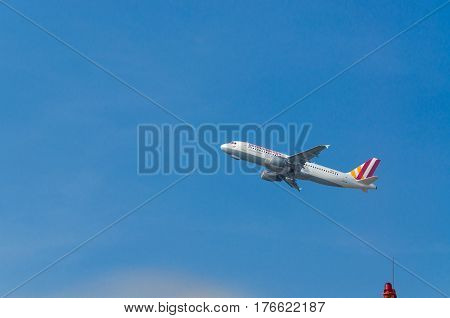 DUESSELDORF NRW GERMANY - MARCH 18 2015: German Wings Airbus A320-200 during startup on the Duesseldorf airport.