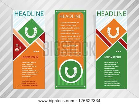 Horseshoe Icon On Vertical Banner. Modern Banner, Brochure Design Template.