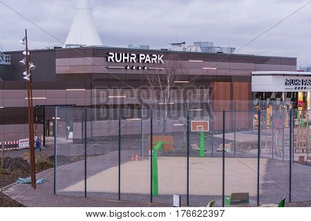 BOCHUM NRW GERMANY - JANUARY 11 2016: Exterior entrance to the shopping center Ruhr Park in Bochum. The shopping center Ruhr Park in Bochum is one of the largest in Germany.