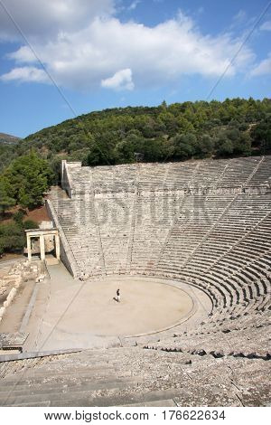 Theater for 14 thousand seats in the ancient city of Epidaurus. Greece