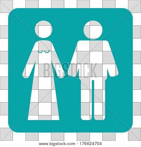Married Groom And Bribe rounded icon. Vector pictograph style is a flat symbol perforation inside a rounded square shape, cyan color.