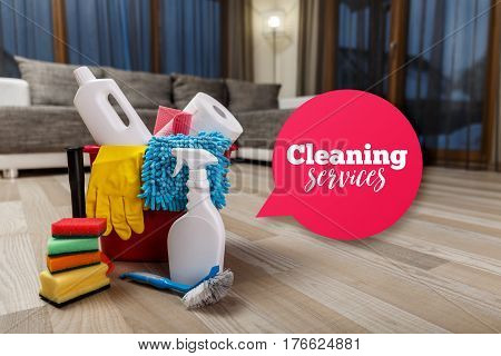 Cleaning service. Bucket with sponges, chemicals bottles and plunger. Rubber gloves and paper towel. Speech bubble. Household equipment.