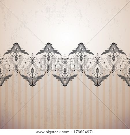 Seamless Vector Background. Vintage Floral Oriental Pattern, Border And Strips. Made Old Surface. Ea