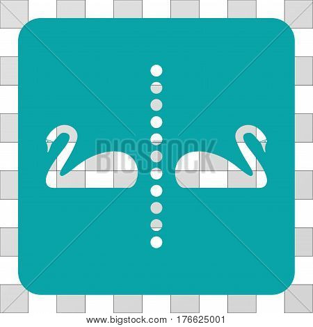 Separate Swans interface toolbar icon. Vector pictograph style is a flat symbol perforation in a rounded square shape, cyan color.