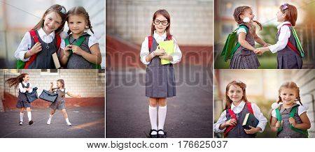 Collage of happy schoolgirls are going to school. Education school concept