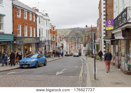 LEWES GREAT BRITAIN - FEB 25 2017: The small descent road High street Lewes in east Sussex. February 25 2017 in Lewes Great Britain.