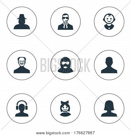 Vector Illustration Set Of Simple Member Icons. Elements Whiskers Man, Felon, Young Shaver And Other Synonyms Offender, Face And Bodyguard.