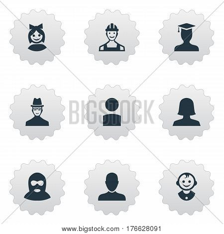 Vector Illustration Set Of Simple Avatar Icons. Elements Spy, Job Man, Girl Face And Other Synonyms User, Spy And Member.