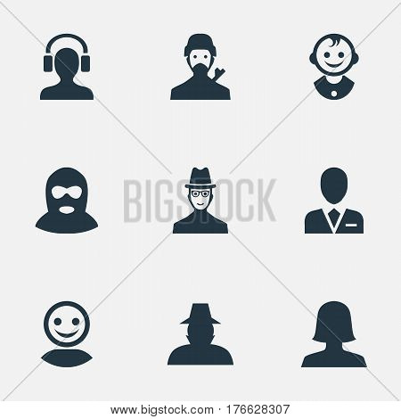 Vector Illustration Set Of Simple Human Icons. Elements Male With Headphone, Felon, Spy And Other Synonyms Man, Felon And Offender.