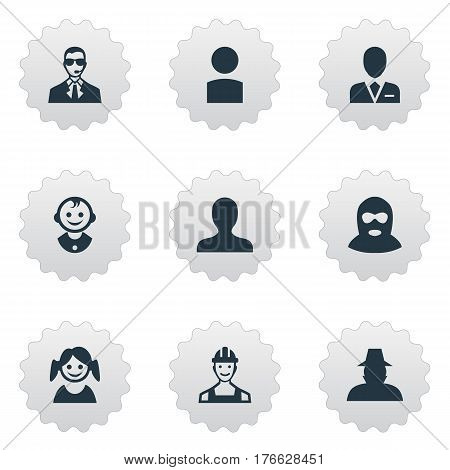 Vector Illustration Set Of Simple Human Icons. Elements Little Girl, Felon, Workman And Other Synonyms Personal, Insider And Boy.