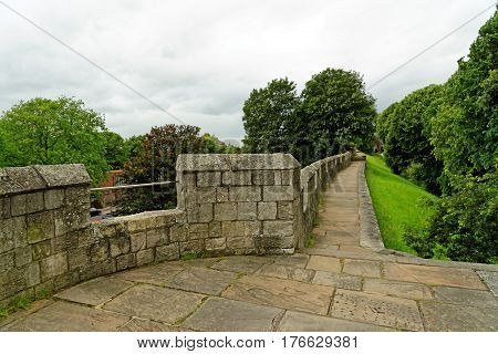 The Historic York City Walls In York England. Since Roman Times The City Of York Has Been Defended B