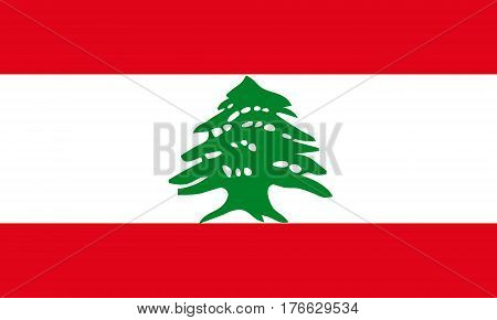 flat lebanese flag in the colors green, white and red