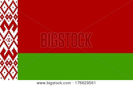 flat belarus flag in the colors green and red