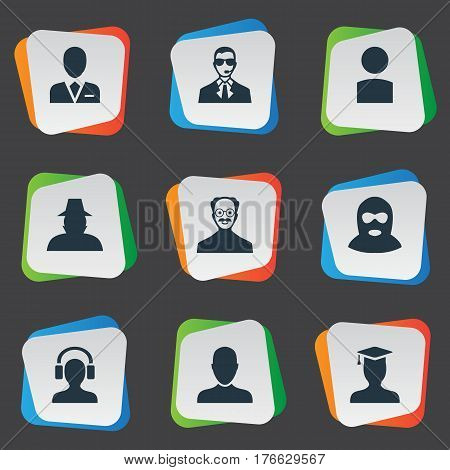 Vector Illustration Set Of Simple Member Icons. Elements Postgraduate, Insider, Whiskers Man And Other Synonyms Avatar, Bodyguard And Worker.