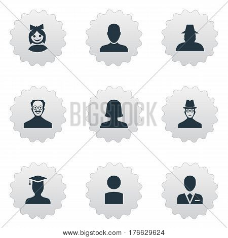 Vector Illustration Set Of Simple Member Icons. Elements Workman, Postgraduate, Whiskers Man And Other Synonyms Workman, Whiskers And Member.
