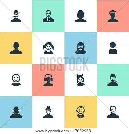 Vector Illustration Set Of Simple Human Icons. Elements Girl Face, Male User, Postgraduate And Other Synonyms Hat, Offender And Face.