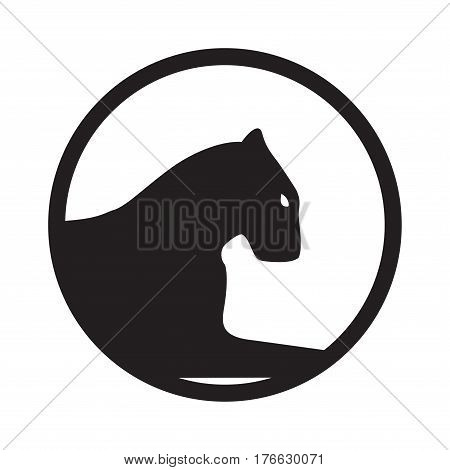 Panther logo. Emblem mascot or team symbol. Vector head of wildcat in a circle.