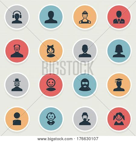 Vector Illustration Set Of Simple Member Icons. Elements Felon, Job Man, Portrait And Other Synonyms Daughter, User And Insider.