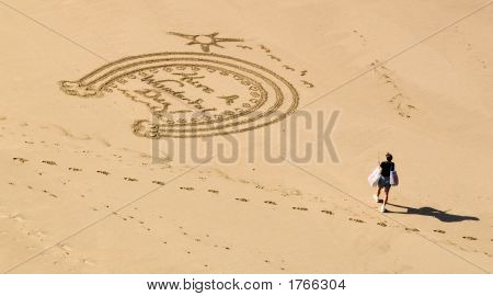 Artistic Greeting In The Sand