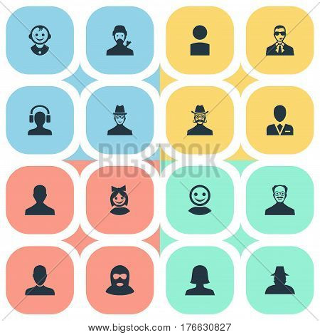 Vector Illustration Set Of Simple Human Icons. Elements Felon, Male User, Woman User And Other Synonyms Inspector, Boy And Security.