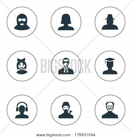 Vector Illustration Set Of Simple Member Icons. Elements Woman User, Postgraduate, Mysterious Man And Other Synonyms Male, Felon And Mysterious.