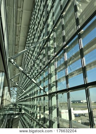 LONDON - MARCH 15, 2017: Modern architecture inside London Heathrow Terminal 5, the home of British Airways, in Hounslow, West London, UK.