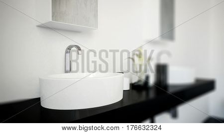 Stylish oval white hand basin with curved chrome faucet on a double wall mounted black vanity unit in a modern bathroom interior. 3d rendering.