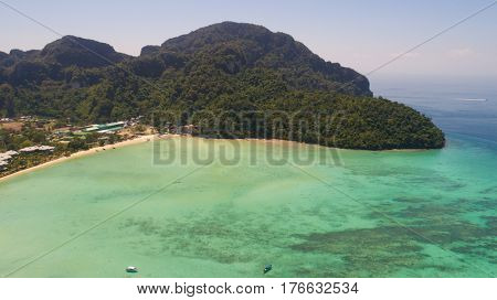 Aerial drone photo of iconic tropical beach and sea coastline of Phi Phi island, Thailand