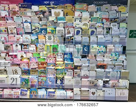 READING - MARCH 12, 2017: Display of greetings cards for all occasions for sale at Marks & Spencer (M&S) Simply Food in Lower Earley, Reading, Berkshire, UK.