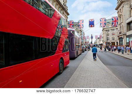 London bus Oxford Street in UK England
