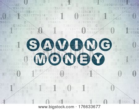 Business concept: Painted blue text Saving Money on Digital Data Paper background with Binary Code