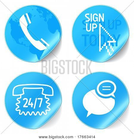 call center support icons blue