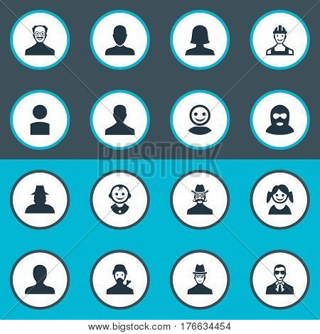 Vector Illustration Set Of Simple Avatar Icons. Elements Portrait, Agent, Spy And Other Synonyms Mustaches, Felon And Profile.