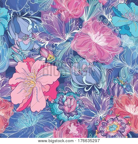 Seamless elegant texture with lily, lotus and peony flowers in indigo blue and pink colors for textile and paper design