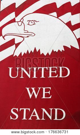 Red and White Banner Proclaiming United We Stand