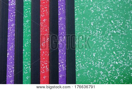 Arrangement Colorful Composition Notebooks ready for the new school year