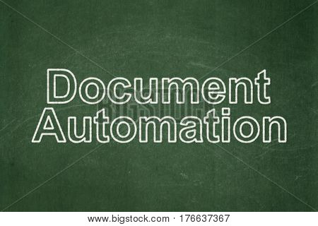 Finance concept: text Document Automation on Green chalkboard background