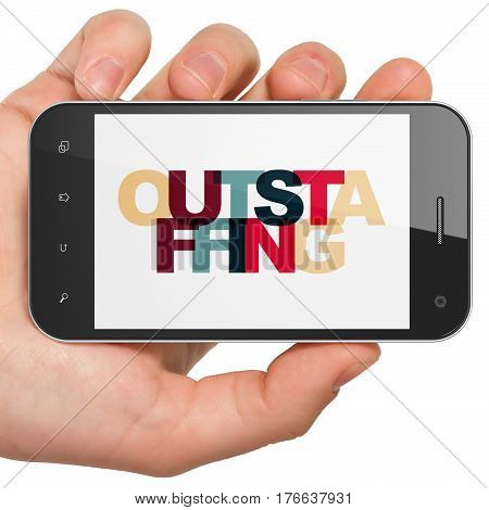 Business concept: Hand Holding Smartphone with Painted multicolor text Outstaffing on display, 3D rendering