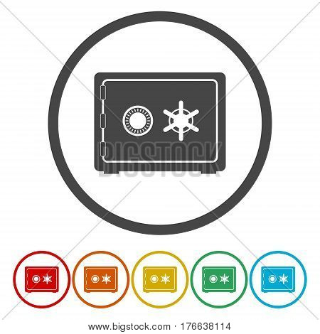 Safe icon. Flat circle design. Vector illustration
