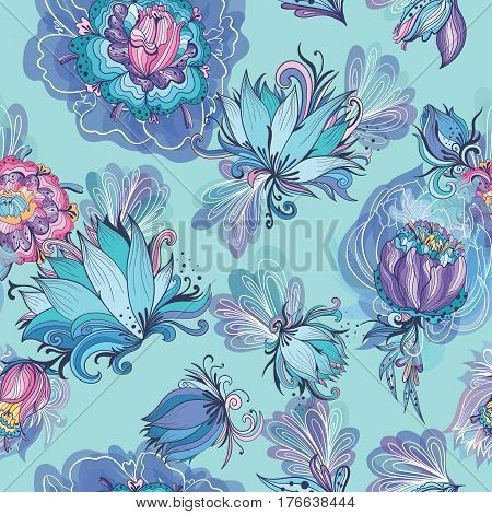 Romantic fresh sketch seamless texture background in purple and azure colors for wallpaper and textile design