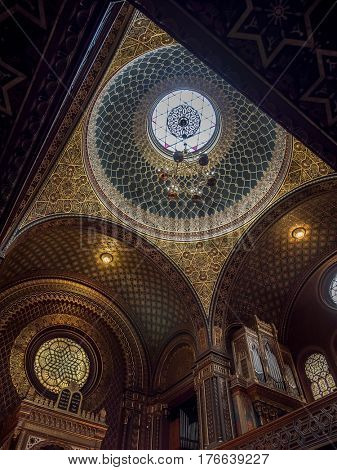 PRAGUE, CZECH REPUBLIC - MARCH 6 2017: Ornamental canopy inside Spanish Synagogue. named so for its impressive Moorish interior design. It is the most recent synagogue in the Prague Jewish Town