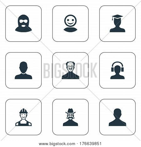 Vector Illustration Set Of Simple Member Icons. Elements Male With Headphone, Moustache Man, Whiskers Man And Other Synonyms Student, Culprit And Proletarian.