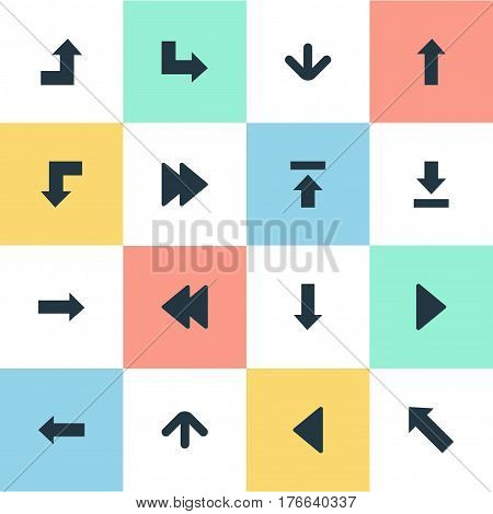 Vector Illustration Set Of Simple Arrows Icons. Elements Let Down, Right Landmark, Right Direction Synonyms Advanced, Forward And Decline.